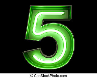 Neon green light digit alphabet character 5 five font