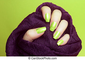 neon green nails manicure
