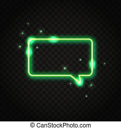 Neon green rectangle speech bubble with space for text