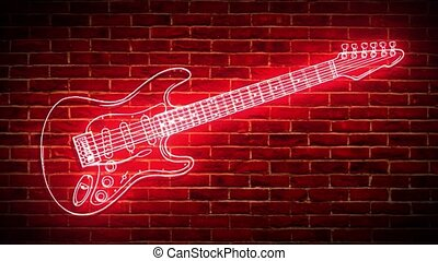 Neon guitar against wall video - Neon guitars against wall ...