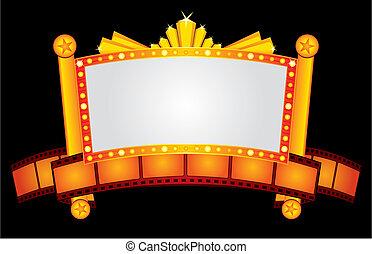 neon, guld, biograf