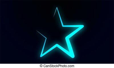 neon, gwiazda, szkic