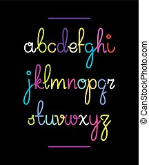 Neon hand drawn font. Vector alphabet