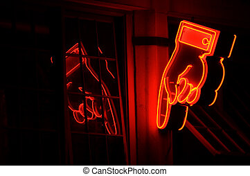 Neon hand - Neon sign at Seattle  street at night