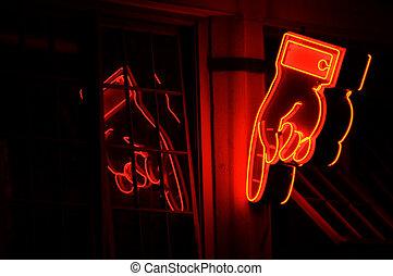neon, hand