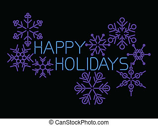 neon happy holidays  - neon light style happy holidays sign