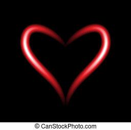 Bright neon heart  heart sign on dark transparent    vector