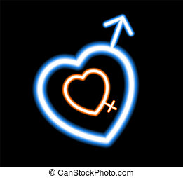 Neon heart on a dark background. Marks the beginning of men and women. The design element of postcards, banners, Valentine's day. Vector illustration.