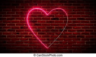 Neon heart on the brick wall
