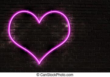 Neon Heart - Glowing Neon Heart on Old Brick Wall
