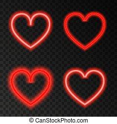 neon, heart., röd, glöd