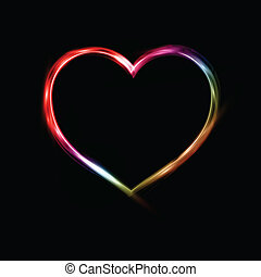 Neon Heart - Valentines Day background with a neon heart...