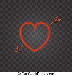 Neon heart with an arrow on a transparent background.