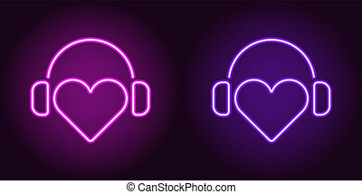 Neon Heart with headphones in Purple and Violet color