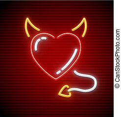 Heart with horns and tail like devil