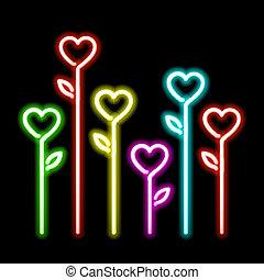 Neon hearts flowers