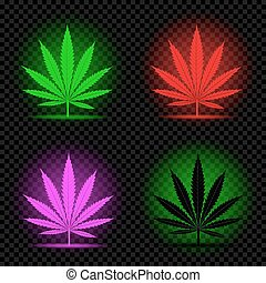 neon hemp leaf icon set