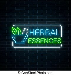 Neon herbal pharmacy sign on dark brick wall background. 100...