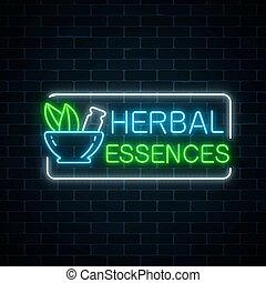 Neon herbal pharmacy sign on dark brick wall background. 100...