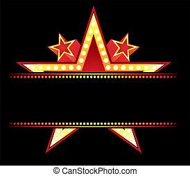 neon, hos, stjärna
