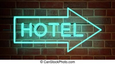Neon hotel sign towards guest house room - 4k - Neon hotel ...
