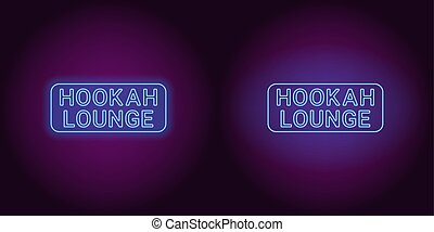 Neon icon of blue Hookah Lounge inscription
