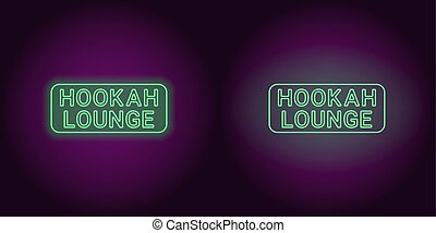Neon icon of green Hookah Lounge inscription