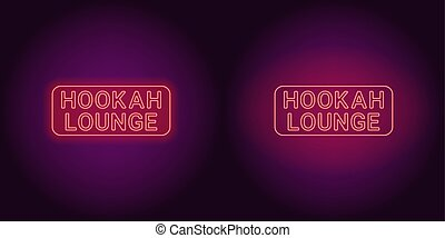 Neon icon of red Hookah Lounge inscription