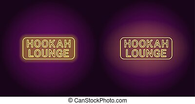 Neon icon of yellow Hookah Lounge inscription