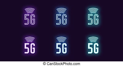 Neon icon set of 5G network mobile technology