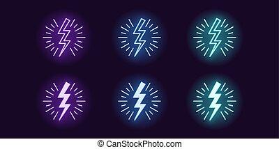 Neon icon set of Lightning bolt flash. Vector