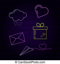 Neon icons on a dark background. Heart icons in neon style