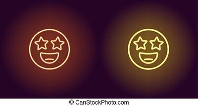 Neon illustration of star struck emoji Vector icon - Neon ...
