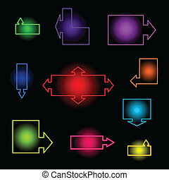 Set of neon indexes. A vector illustration