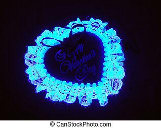 neon, kék, ízesít szív