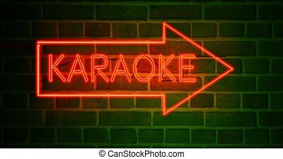 Neon karaoke sign shows bar has open mic or private booths. Singing songs for entertainment at a bar - 4k