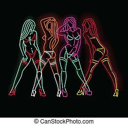 Neon ladies - Set of female figures in neon isolated on...