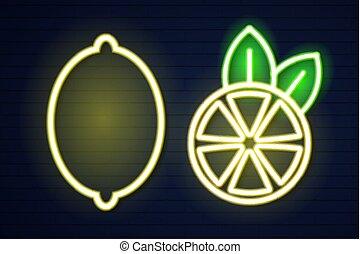 Neon lemon on a brick wall vector