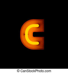 Neon Letter c lower case red neon alphabet collection