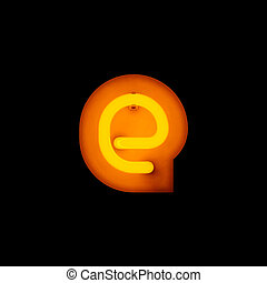 Neon Letter e lower case red neon alphabet collection