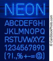 neon, lettertype, en, symbolen