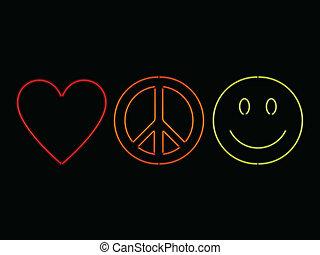 neon, liefde, vrede, en, geluk