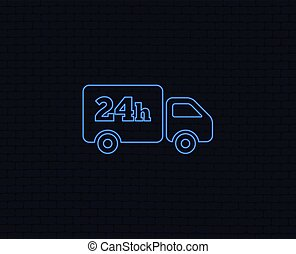 24 hours delivery service. Cargo truck symbol. - Neon light....