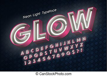 Neon light 3d alphabet, extra glowing font. Swatch color ...