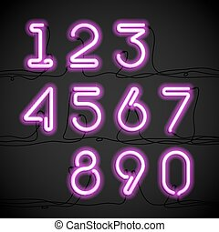 Neon light alphabet numbers