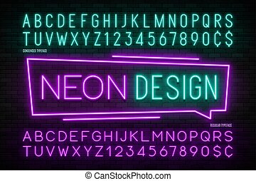 Neon light alphabet, realistic extra glowing font. 2 in 1....