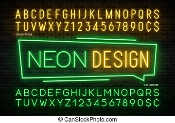 Neon light alphabet, realistic extra glowing font. 2 in 1