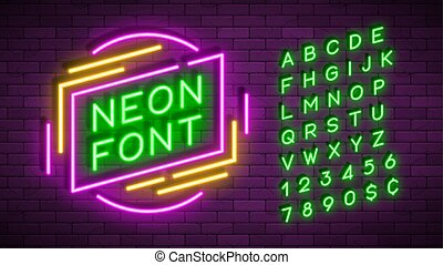 Neon light alphabet, realistic extra glowing font.