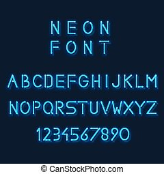 Neon light alphabet. Letters and number. Minimalistic linear sans-serif font. Design abc glow, vector illustration