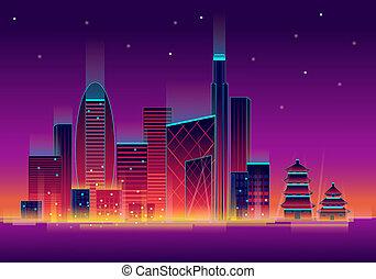 neon light decorating a modern building